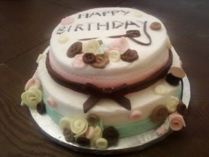 Sewing Cake with buttons and ribbon roses